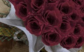 バラのプリザーブドフラワーケーキ/ワインレッド