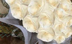バラのプリザーブドフラワーケーキ/アンティックホワイト