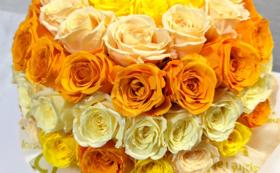 バラのプリザーブドフラワーケーキ/オレンジmix