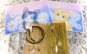 猫シルバーネックレス/手描きB5サイズ絵/1日貸切券