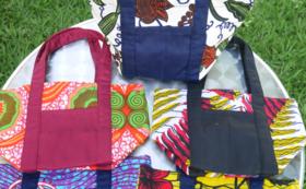 ルワンダ女性が手作りしたアフリカン 布のランチバック