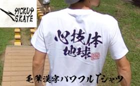 毛筆漢字パワフルTシャツ!「心技体地球」PICKUP SKATE ホワイト地に黒文字