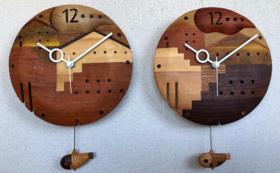 木工作家 花塚光弘さん  泳ぎのヘタな魚の住む街(時計)
