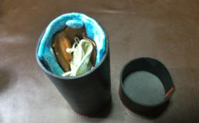 抗菌抗ウイルス対策用マスク革ボックス(スマホ対応)抗菌抗ウイルス加工生地・銅繊維素材シート使用・円筒2形