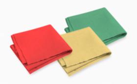 大麻布×天然色素 ハンカチ(ハンドタオル)  3枚1セット(青緑、黄色、赤色)