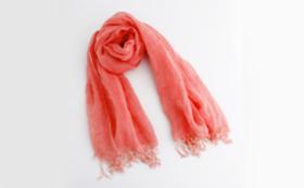大麻布×天然色素 スカーフ1枚(赤色)