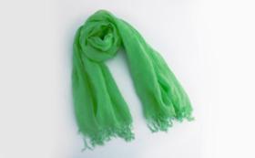 大麻布×天然色素 スカーフ1枚(青緑色)