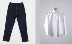ストレートスタイル:トラウザーズとレギュラーシャツのセット