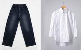 ナチュラル:ワイドパンツとオーバーサイズシャツのセット