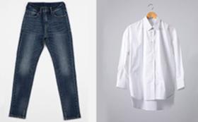 トレンドスタイル:スリムテーパードとオーバーサイズシャツのセット