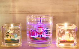 完成品!クリスマスLEDキャンドルとミニキャンドルのペアセット