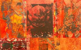 永井雅人版画作品 Textures -Red wall