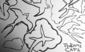 """つばめアート""""drawing by kanako"""" &つばめカフェで使えるカフェチケット1名様分"""