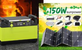 1500Wポータブル電源+150W ソーラーパネル  早割37%OFF