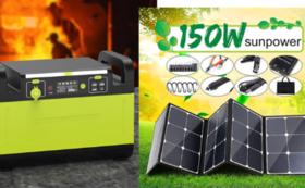 1500Wポータブル電源+150W ソーラーパネル  早割35%OFF