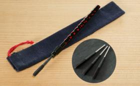 久留米籃胎耳かき「らん」 久留米絣の専用巾着+取替カートリッジ3本付き