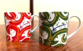帯屋捨松の帯のデザインのマグカップ(ペア)