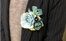 「越前和紙」創作ブランド【福和来~fuwara】の「コサージュ」(ブルー系)