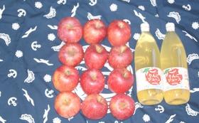 お礼の手紙、農園事務所への支援者名の掲載、リンゴとジュースのセット