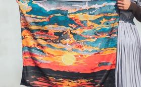 01・絵画のスカーフ・夕陽※送料無料