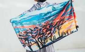 早得5名様!03・絵画のストール長方形・夕陽とりんごの木の布マスクセット