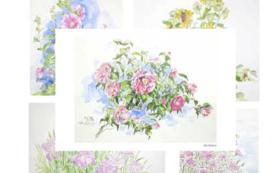 【父の絵ハガキ 5枚セット(花)+コミュニティアプリ「IKIZAMA」の1ヶ月限定ベータ版アプリ体験】