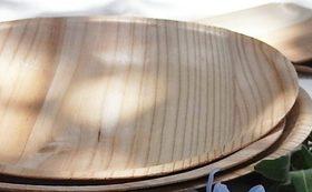 15年目を記念する棚田の書籍1冊と間伐材の木のお皿3枚