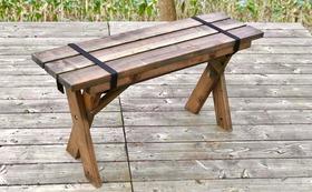 折り畳み可能なワイルドベンチ。もちろん阿波の木材で!