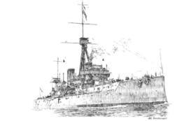 戦艦のペン画