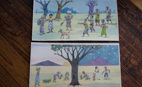 『ニョタのふしぎな音楽』絵かきさんイマンジャマさんの原画(見開き1枚)& 同絵本2冊