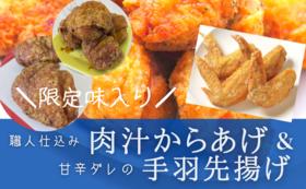 【20セット限定】冷凍クール便でお届け「熟練職人の肉汁からあげ」4種食べ比べ+甘辛ダレの手羽先揚げ ぜいたくセット