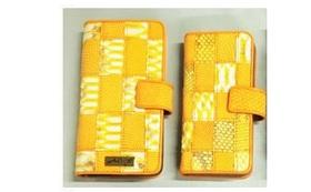 蛇革とトカゲ革の汎用版手帳型スマートフォンケース