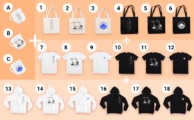 マグカップ+手提げバッグ+Tシャツ+パーカーのセット