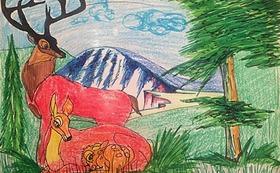 トングリ村の子どもたちが描いた「将来のトングリ村」