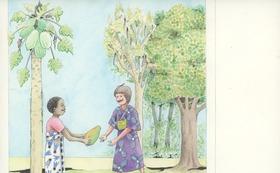 『ニョタのふしぎな音楽』絵かきさんイマンジャマさんの原画(パパイヤ)& 絵本1冊 (+DVD)