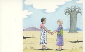 『ニョタのふしぎな音楽』絵かきさんイマンジャマさんの原画(バオバブの前で手をつなぐ二人)&絵本1冊 (+DVD)