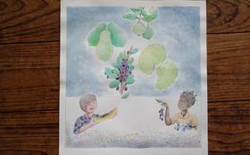 『ニョタのふしぎな音楽』絵かきさんイマンジャマさんの原画(果物を食べる2人)& 絵本1冊 (+DVD)
