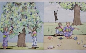 『ニョタのふしぎな音楽』絵かきさんイマンジャマさんの原画(ムラサキフトモモ)& 絵本2冊 (+DVD)