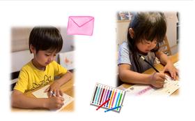 《小間の写真と子ども達からのお礼の手紙》