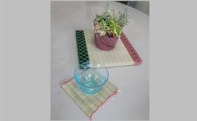 《畳で作った花台。置物の台にしてもオシャレ(^^)コースター5枚付》