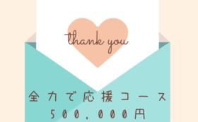 全力で応援コース50万円:アプリ上にお名前掲載(希望制・1年間)