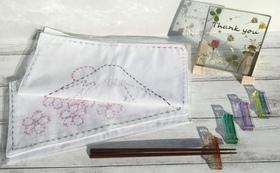 M   ガラスのサンキュープレート  &  刺し子 & 箸置きのコース