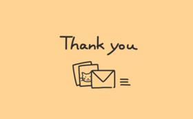 感謝のメールと待ち受け画像2点