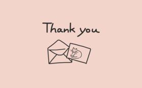 感謝のお手紙とはがき1枚