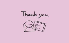 感謝のお手紙とはがき2枚