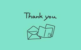 感謝のお手紙とカードとはがきを1枚ずつ
