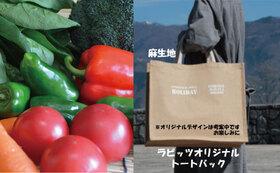 感謝の農薬不使用栽培野菜セット Sサイズ + 感謝のオリジナルトートバッグ1点 + 感謝のお礼状