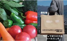 感謝の農薬不使用栽培野菜セット Lサイズ + 感謝のオリジナルトートバッグ1点 + 感謝のお礼状