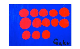 【原画ケント紙:Blue Red Dots】(フレーム付)+マグネット+画集本&CD