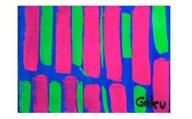 【原画ケント紙:Pink Green Strips】(フレーム付)+マグネット+画集本&CD